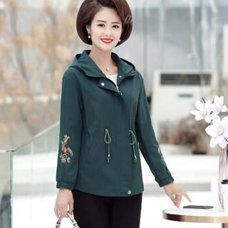 莉夏乐 风衣女2019秋冬新品女装妈妈外套上衣短款时尚洋气连帽女士外衣 WLPGLY39 绿色 XXL