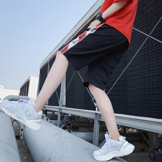AEMAPE/美国苹果 短裤男装2019夏季新款男士短裤透气中裤运动时尚休闲撞色沙滩裤 9128 黑白 L