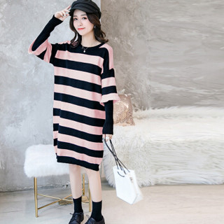 MAX WAY 女装 2019年秋季百搭新款圆领修身甜美中长款针织衫 QDmw0186 189大条纹款 粉色 XL