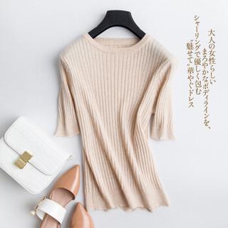 BANDALY 2019秋季新品女装针织衫女短袖套头圆领修身打底衫简约五分袖纯色毛衣 GZHB9991187 黑色 XXL