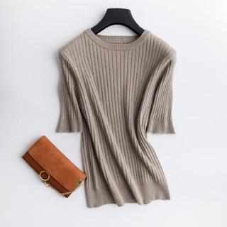 BANDALY 2019秋季新品女装针织衫女短袖套头圆领修身打底衫简约五分袖纯色毛衣 GZHB9991187 驼色 XL