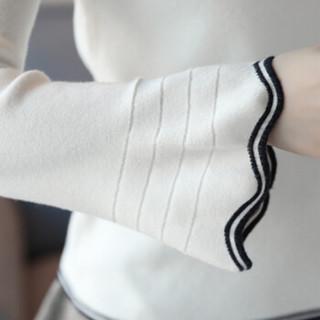 米兰茵(MILANYIN)女装 2019年秋冬款套头韩版薄款学生喇叭袖原宿毛衣针织衫打底衫 GHML075 白色 M