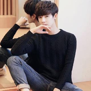 富铤(FORTEI )毛衣男士针织衫新款修身保暖防寒打底套头圆领毛线衣服男装 黑色 3XL