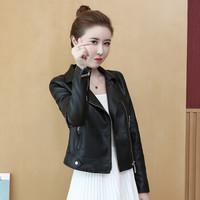 新薇丽(Sum Rayleigh)机车小皮衣女 2019秋季新品韩版修身显瘦立领PU皮夹克外套 LLSW929 黑色 XL