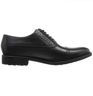 COLE HAAN Stanton Cap Oxford 男士真皮牛津鞋 Black Waterproof US7
