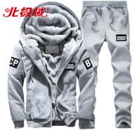北极绒(Bejirong)卫衣套装男士 2020春秋加绒宽松运动套装男士帅气青年连帽衣服 YZD-D80 灰色 XL