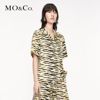 MO&Co. 摩安珂 米奇系列女士米奇虎纹翻领短袖衬衫MBO3TOP006