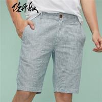 佐丹奴(Giordano) 短裤 麻棉中低腰休闲修身短裤五分裤01109339  96蓝/白色 小码(165/74A)