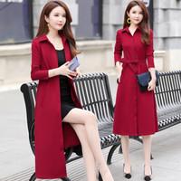 BANDALY 2019秋季新品女装风衣女休闲中长款外套韩版气质长袖薄款大衣 KKWH1776 红色 L