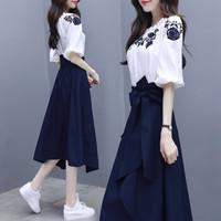丽乔 2019夏季新品女装连衣裙女法式复古裙过膝流行裙子套装女气质刺绣两件套 GZ3268 蓝白 M