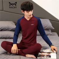 猫人(MiiOW)T恤套装 男士潮流时尚拼色V领长袖加绒保暖T恤套装B260-D25酒红3XL