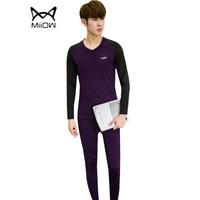 猫人(MiiOW)T恤套装 男士潮流时尚拼色V领长袖加绒保暖T恤套装B260-D25紫色L