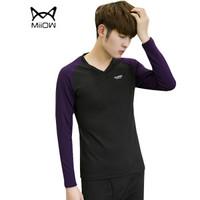 猫人(MiiOW)T恤套装 男士潮流时尚拼色V领长袖加绒保暖T恤套装B260-D25黑色XL