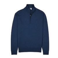 JOHN SMEDLEY Tapton Navy高级羊毛针织套衫