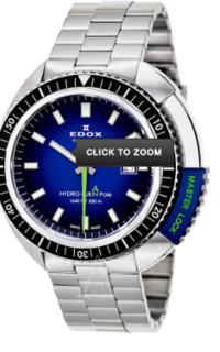EDOX 依度 HYDRO-SUB系列 50周年 80301-3NBU-NBU 男款机械表 46mm 蓝色 银色 不锈钢
