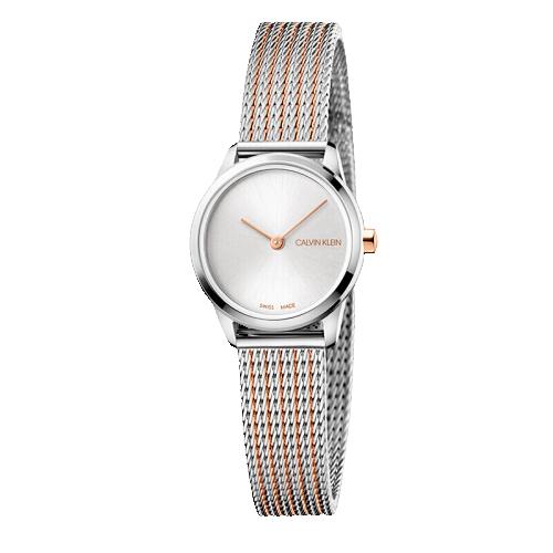 CK卡文克莱(Calvin Klein )minimal ext. 简约系列延伸款女士腕表 银色表盘双拼色表带 石英女表 K3M23B26