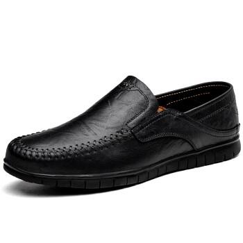 MULINSEN 木林森 时尚男鞋休闲鞋 简约舒适套脚商务休闲皮鞋豆豆鞋 8028 黑色 41码