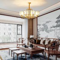 希尔顿全铜新中式吊灯客厅灯现代简约大气灯具中国风餐厅灯饰禅意
