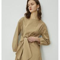 伊芙丽 1B2990151 系带中长款连衣裙