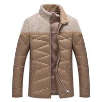 南极人羽绒服男时尚针织拼接立领男士短款休闲外套 MDY87218A 卡其 175/L