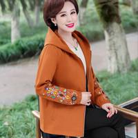 BANDALY 2019秋季女装新款中老年妈妈洋气高贵外套上衣40岁50薄款休闲风衣 WLPMM62320 焦糖 XL