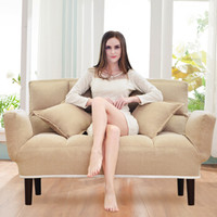 L&S 懒人沙发床 多功能休闲沙发椅卧室客厅单双人沙发床可折叠拆洗 S199卡其色