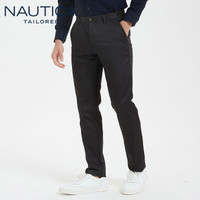 诺帝卡(NAUTICA TAILORED)2020春季刺绣直筒西裤男士商务长裤子纯色经典 NXK96271 黑色 42(190/106C)
