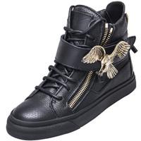 Giuseppe Zanotti 朱塞佩·萨诺第 女士黑色牛皮拉链高帮休闲鞋 RS5021 00111 38码
