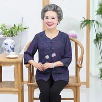 尚格帛 2019秋季新品女装时尚中老年人老人衣服奶奶装套装妈妈中袖T恤两件套 JXALXK088 套装蓝色 XL