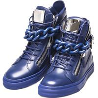 Giuseppe Zanotti 朱塞佩·萨诺第 男士蓝色牛皮拉链高帮休闲鞋 RM5005 00105 40码