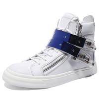 GIUSEPPE ZANOTTI 朱塞佩·萨诺第 男士白色牛皮蓝色鞋带扣高帮运动鞋 RM5031C56601 42