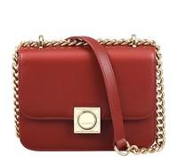 迪桑娜轻奢包包女包 时尚链条包单肩包锁扣简约小包斜挎小方包 红色头层牛皮