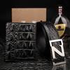 V.V.Brown钱包皮带礼盒套装真鳄鱼皮男士商务皮带不锈钢Z字母扣8010bp2+1001 黑色 115cm