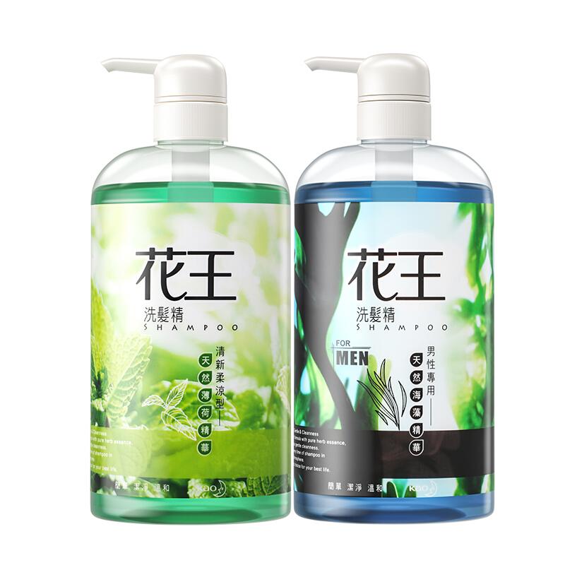 Kao 花王 KAO)进口洗发水 清爽去油型舒缓头皮去屑海藻洗发露750ml*2男士女士通用洗发精