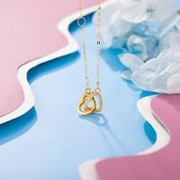 老庙黄金 18K金项链Au750心心相连爱心吊坠套链一款两戴