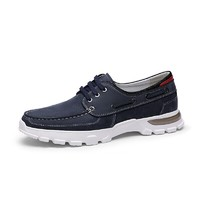 金利来(goldlion)男鞋时尚轻质耐磨帆船鞋系带休闲鞋52701023260A-蓝色-44码