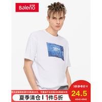 Baleno班尼路 潮流印花短袖T恤男 新款圆领时尚半袖男士T恤 W0W 白色 L *7件