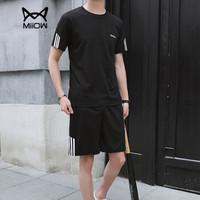猫人(MiiOW)短袖套装2019夏季新款T恤套装男士短裤休闲运动套装1507-8808黑色4XL