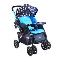 小龙哈彼(Happy dino) 婴儿车 推车 可坐可躺 折叠 高景观儿童推车 双向推行 蓝色波点 LC519H-H263