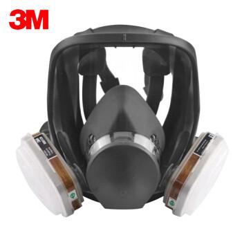 3M呼吸防护套装KN95三级防护眼面部整体防护6800双滤盒全面具 1对6001滤盒 1对501滤棉盖 10片5N11滤棉 1套