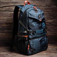 斯帕曼双肩包男2020新款时尚男士大容量旅行背包潮牌帆布学生书包