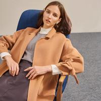 ME&CITY 533597 女士中长款双面羊毛大衣
