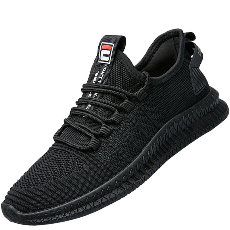 稻草人男鞋休闲鞋子男士飞织透气网面跑步运动鞋韩版潮流轻质舒适 D710 纯黑色 42