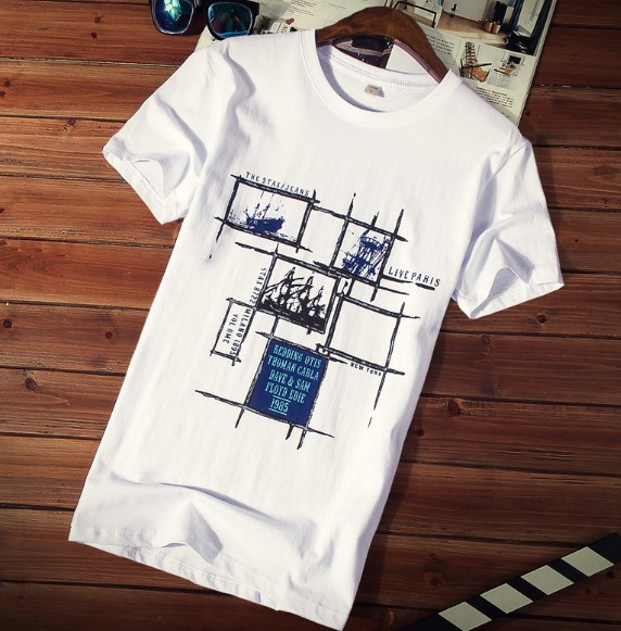 QAWETI 男士纯棉短袖T恤 格子船白色 M