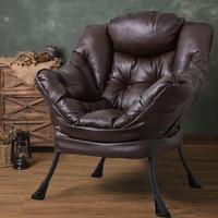 紫叶(ziye)懒人椅现代简约单人沙发椅卧室阳台休闲电脑椅欧式皮质沙发椅