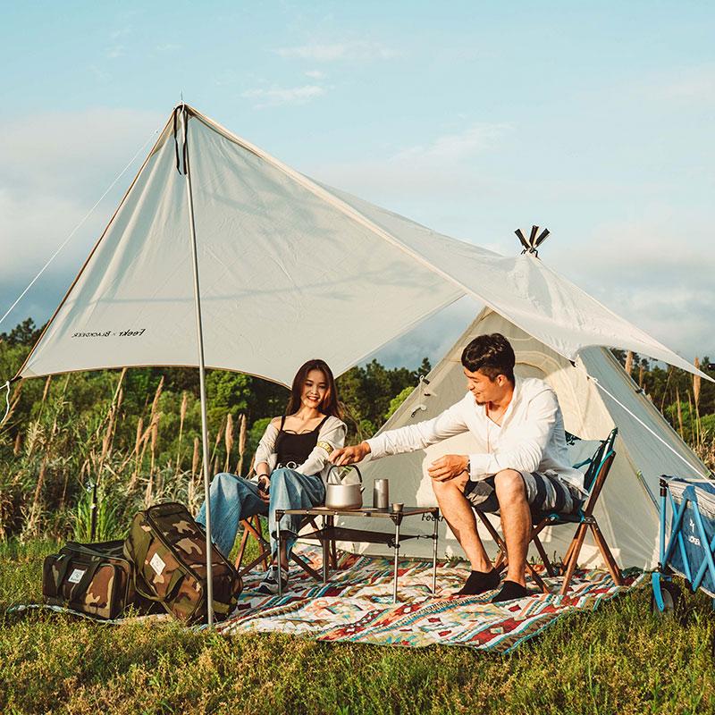 黑鹿幽居印第安帐篷天幕组合套装户外露营遮阳防雨家用自驾游轻奢