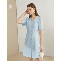 范思蓝恩 Z201461 V领气质连衣裙浅蓝色