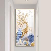 嘉恒艺 玄关装饰画铝合金晶瓷画山水画客厅沙发背景墙画现代走廊过道竖版窄墙面单幅挂画壁画 N14款