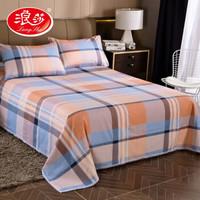 浪莎家紡全棉粗布床單加厚老粗布純棉床蓋單 單件床單 單件枕套 1.5/1.8米床床單枕套三件套 格調-桔 枕套一對裝
