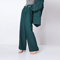 BABYGHOST 女士高腰阔腿休闲西裤B20FW0708 墨绿色XS